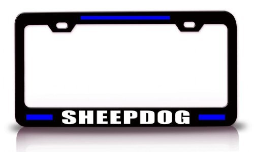 Sheepdog License Plate Frame - License Plate Covers Sheepdog Police Cop Steel Metal Black License Plate Frame