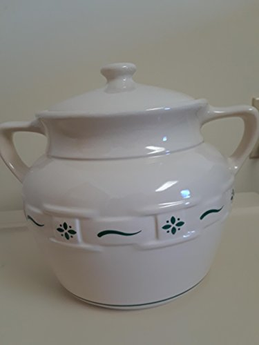 Longaberger Usa Pottery (Longaberger Woven Traditions Heritage Green Cookie Jar Vitrified Made In USA)