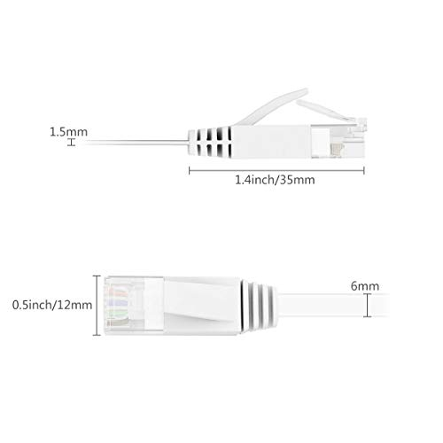 Jazzy Cat 6 Ethernet Cables 15m,Cat 6 Gigabit Lan Network RJ45 High-Speed Patch Cord Flat Design 10Gbps for 600Mhz/s STP for Console, PS3, PS4, PS5,Switch, Router, Modem, Patch Panel, PC