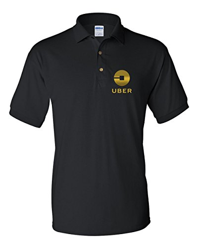 Uber Driver New Logo Men's Gildan Jersey Sport Polo T Shirt   Black W/Gold