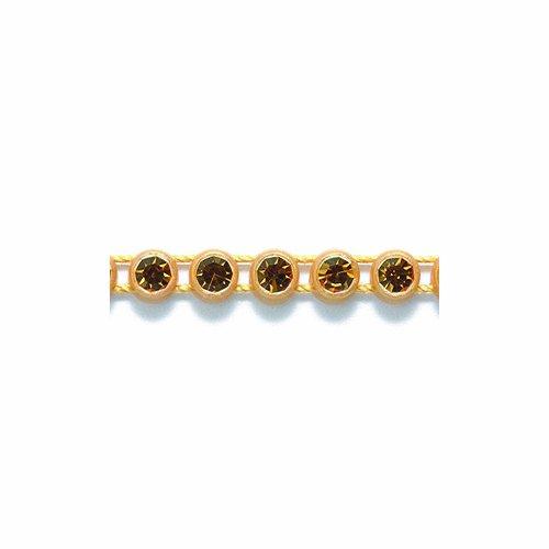 Preciosa Size SS13 Topaz Rhinestone with Gold Plastic Banding, 1m Long