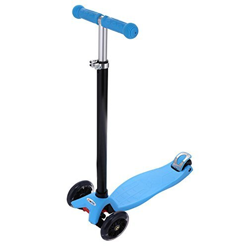 Corgy Kids Boys Girls Aluminum Alloy 3 Wheel Folding Kick Scooter wiht T Style Adjustable Handle Bar(US Stock)