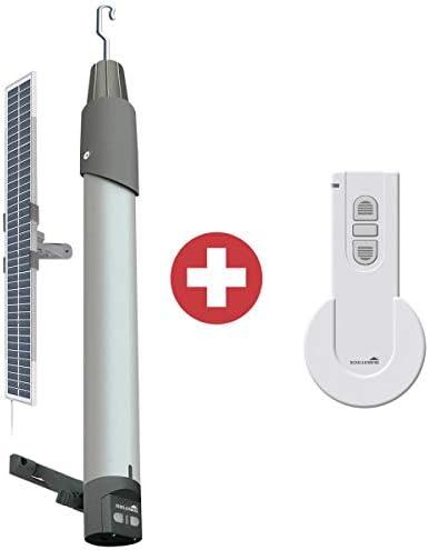 Schellenberg Funk-Markisenantrieb Premium 20264 mit Solarpanel, Akku, Netzteil inklusive 1-Kanal Handsender in weiß