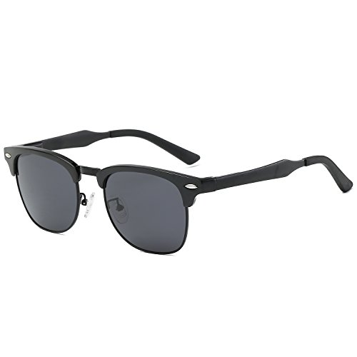 Galulas Classic Retro Square Semi-rimless Clubmaster Women and Men Sunglasses Al-Mg Polarized Eyewear Frames Mirrored Reflective Lenses Driving Shades (Black Frame Black-grey Lens, - Semi Glasses Square Rimless