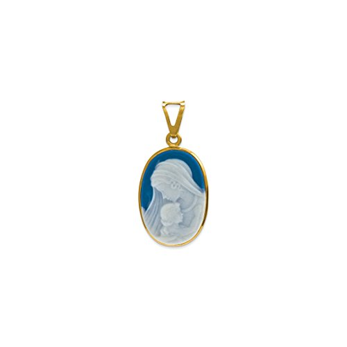 Earrings Gold Cameo - 14k Yellow Gold Woman/child Cameo Pendant Charm Necklace Fine Jewelry Gifts For Women For Her
