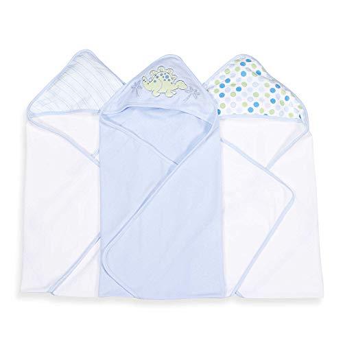 (3 Hooded Towel Set, Blue Dino)