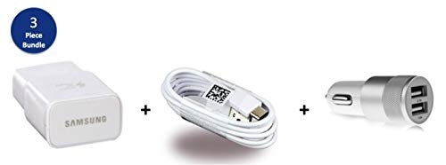 ([3pc Bundle] Original Samsung Adaptive Fast Charging USB Wall Charger,Original Samsung USB-C to USB-A Cable, and Free NOKOKO Dual USB Car Charger (Non-Retail Packaging))