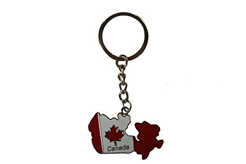 Canada Country Shape Flag Metal Keychain .. -