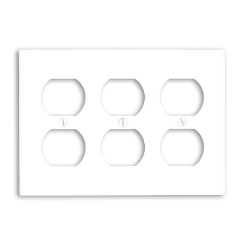 Leviton 88030 3-Gang Duplex Device Receptacle Wallplate, Standard Size, Thermoset, Device Mount, White - Leviton Three Gang