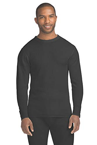 Top Long Underwear Knit Shirt - Hanes Men's Waffle Knit Thermal Crew Neck Long Sleeve T-Shirt with FreshIQ, X-Temp Technology & Organic Cotton Black