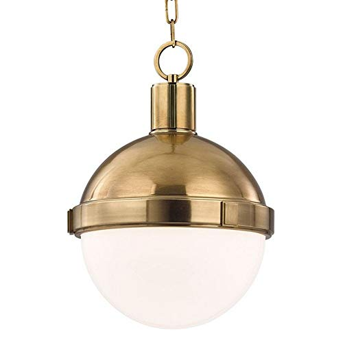 (Lambert 1-Light Pendant - Aged Brass Finish with White/Clear Glass Shade)
