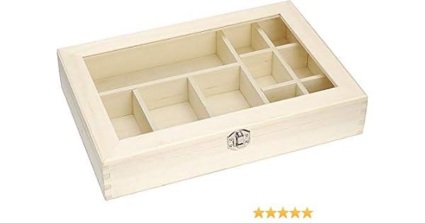 Knorr Prandell FSC Compartimento de Madera Caja de almacenaje con Tapa de Cristal, Marrón: Amazon.es: Hogar