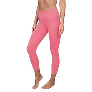 "90 Degree By Reflex High Waist Tummy Control 22"" Interlock Capri - Lychee Pink - Large"