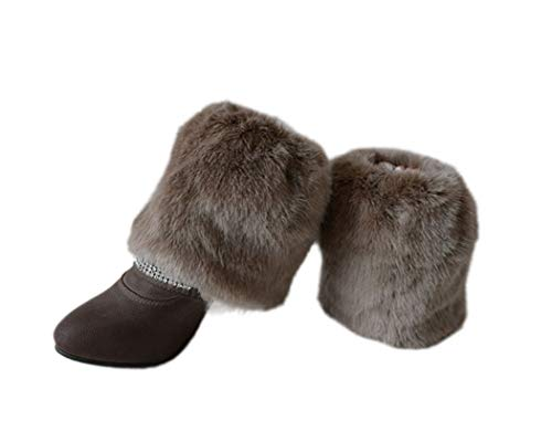 Tngan Womens Faux Fur Leg Warmers Boot Covers Furry Boot Cuff Short Boot Sleeves Khaki 20cm (Sleeve Faux Fur Boot)