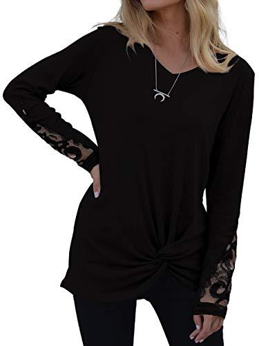 SAMPEEL Women's Casual T Shirts Twist Knot Tunics Tops