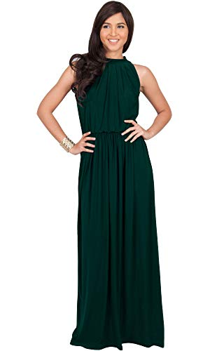 KOH KOH Womens Long Sexy Sleeveless Bridesmaid Halter Neck Wedding Party Guest Summer Flowy Casual Brides Formal Evening A-line Gown Gowns Maxi Dress Dresses, Emerald Green L (Halter Wedding Gown Dress)