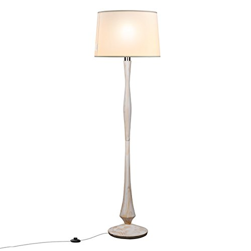 tomons White Washed Wood Floor Lamp with 8W LED Lamp for Bedroom Components Other FL2001US-W, White