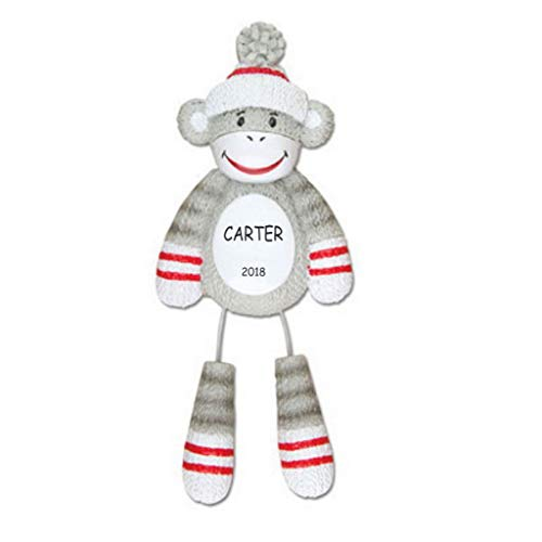 DIBSIES Personalization Station Personalized Sock Monkey Kids Christmas Ornament ()
