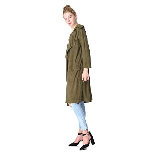 Cappotto Baggy Autunno Trench Plus Giacca Primaverile Camoscio 4 Eleganti Colour Casual Vintage Lunga Donna Bavero Abbigliamento Outerwear Manica Prodotto Targogo Moda T4q14