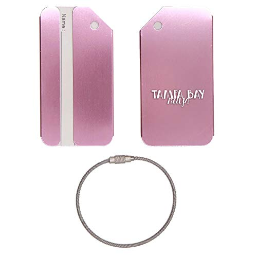 (MLB Tampa Bay Rays Words 4 STAINLESS STEEL - ENGRAVED LUGGAGE TAG - SET OF 2 (ROSE GOLD) - FOR ANY TYPE OF LUGGAGE, SUITCASES, GYM BAGS, BRIEFCASES, GOLF BAGS)