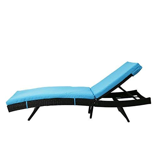 Kinbor Patio Wicker Rattan Chaise Lounge Chair Outdoor Black Adjustable PE Pool Chairs Furniture w/Blue Cushion by Kinbor (Image #1)