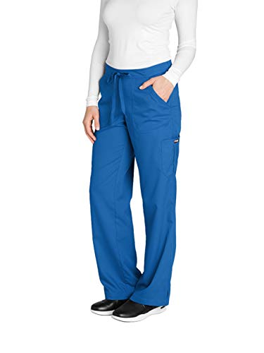 Grey's Anatomy Women's 4245 Junior Fit 4-Pocket Elastic Back Scrub Pants, New Royal, Small/Petite