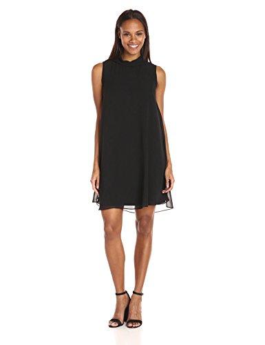 Sharagano Women's High Neck Sleeveless Dress with Chiffon Overlay, Black, 12