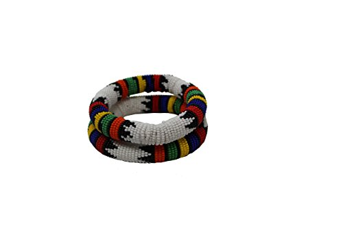 White Thick Rolled Traditional Beaded Bracelet With Multicolors