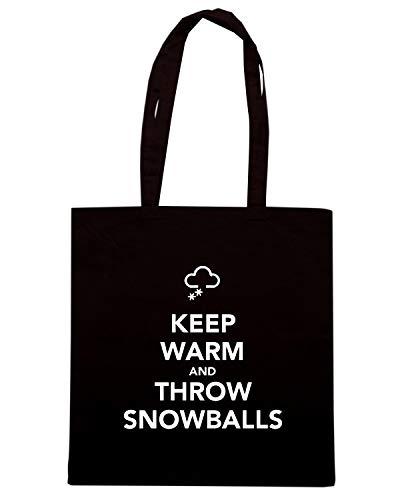 Speed Shirt Borsa Shopper Nera TKC0135 KEEP CALM AND THROW SNOWBALLS