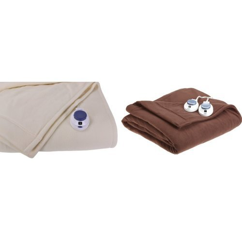 Soft Heat Luxury Micro-Fleece Low-Voltage Electric Heated Throw, Natural and Soft Heat Electric Warming Blanket Full Size-Chocolate