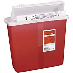 Covidien 8507SA SharpSafety Container with Counterbalance Lid, 5 quart Capacity, Transparent Red (Pack of 20)