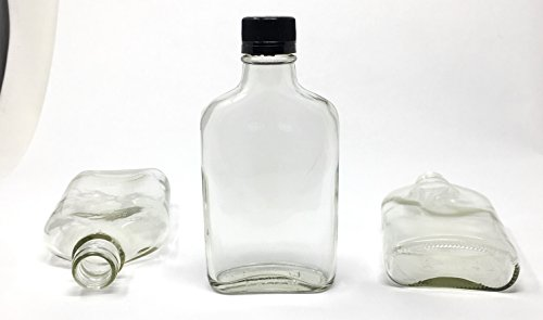 200 ml (6.6 oz) Glass Flask Liquor Bottle with Black Caps (12 Pack) (Whiskey Flask Bottle)