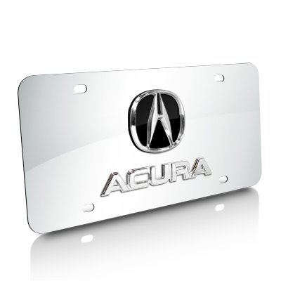 Acura Chrome Logo + Name On Polished License Plate