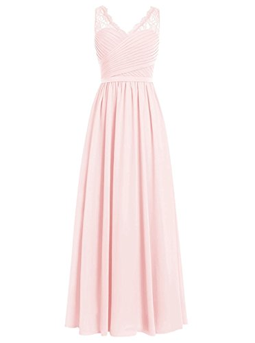 (Cdress Chiffon Bridesmaid Dresses Long Prom Evening Gowns Maxi Wedding Party Formal Dress Lace V-Neck US 12 Pink)