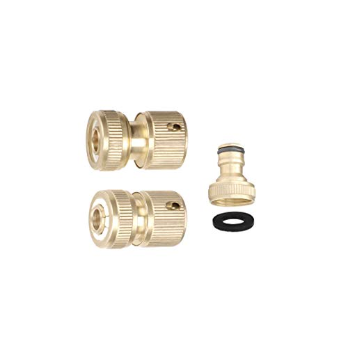 Reason Liu Garden Hose Quick Connect Solid Brass Quick Connector Water Gun Water Valve Hose Connectors 3/4 inch GHT