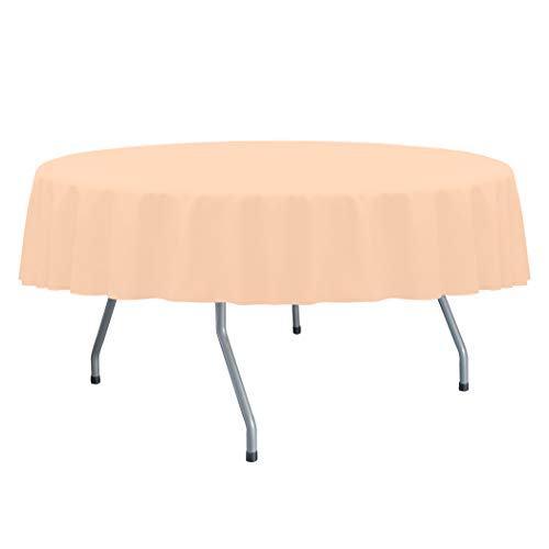 Ultimate Textile -3 Pack- Cotton-Feel 60-Inch Round Fine Dining Tablecloth - Fits Tables Smaller Than 60-Inches in Diameter, Ice Peach