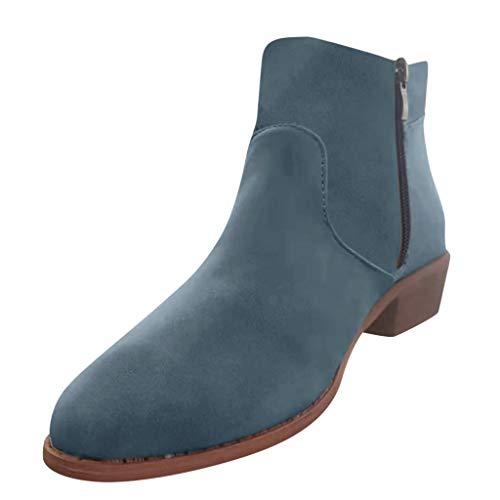 Emimarol Womens Boots Round Toe Zipper Slip on Low Heels Shoes Work Ankle Booties Blue