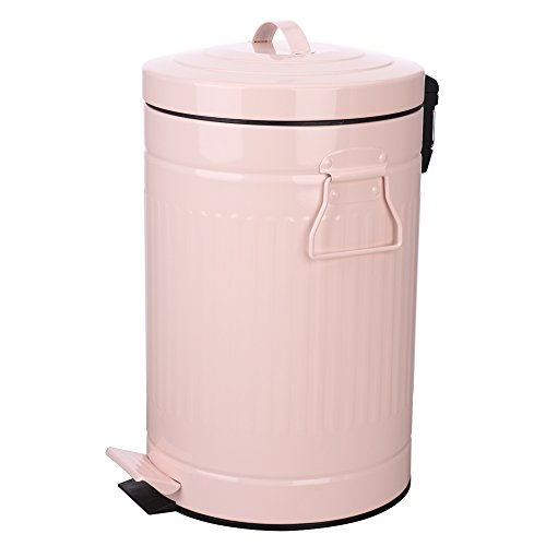 Kitchen Trash Can with Lid, Pink Bathroom Garbage Can, Round Waste Bin Soft Close, Retro Vintage Metal Garbage Bin For Office Foot Pedal Step, 12 Liter/3 Gallon, Glossy (12l Pedal Bin)