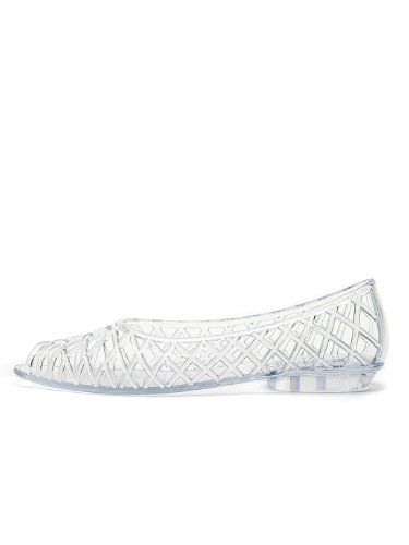 e061be43f87b American Apparel Women s Flat Lattice Jelly Sandal US Size 10 Clear