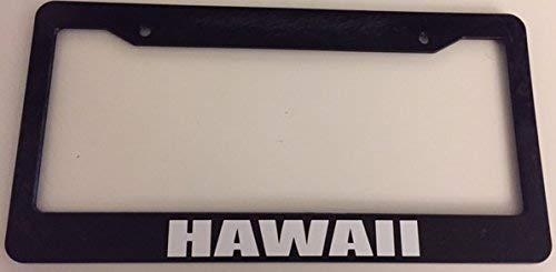 Dark Branches Hawaii Bold Style - Black Automotive License Plate Frame - Surfer Style Surfs Up ()