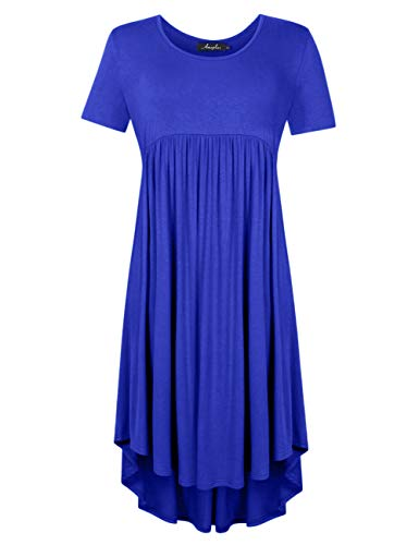 AMZ PLUS Plus Size Scoop Neck Long Sleeve Pleated Tunic Casual Dress for Women (XL, Blue#) (Scoop Sleeve Dress Long Neck)