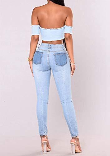 ajuste Slim Coupe Haute Femme Jean Minceur pour Taille Blue Kunliyin YxZ5qn