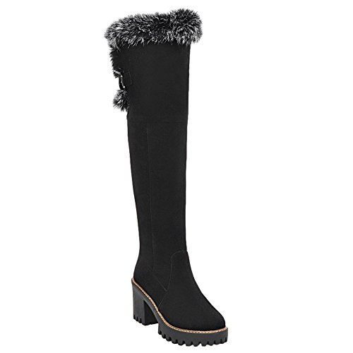 Latasa Womens Faux Fur Opening Block Heel Tall Boots Black