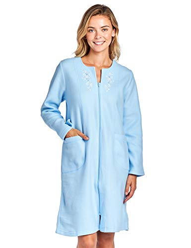Casual Nights Women's Long Sleeve Zip Up Front Short Fleece Robe - Blue - Medium