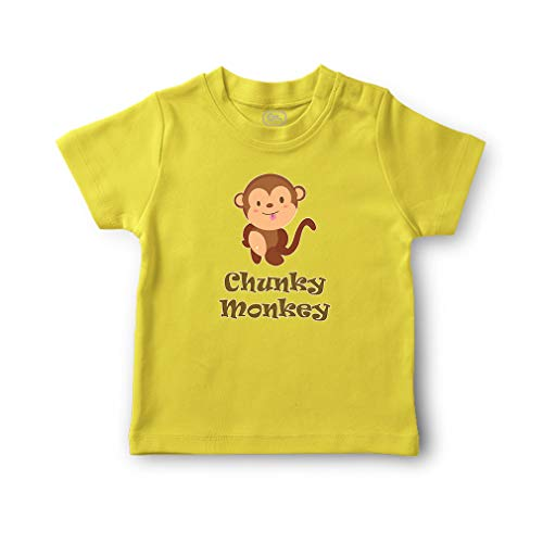 Cute Rascals Chunky Monkey Short Sleeve Crewneck Toddler Boys-Girls Cotton T-Shirt Jersey - Yellow Zest, 24 Months