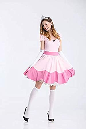 Perfetto per Carnevale e Cosplay Medium 165cm 160cm thematys Super Mario Principessa Peach Vestito Set di Costumi per Le Donne