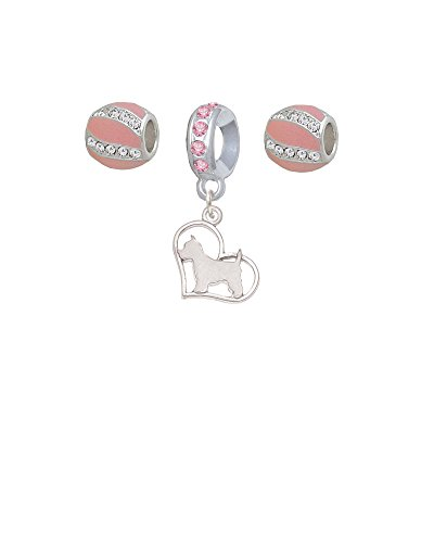 (Westie Silhouette Heart Pink Sparkle Crystal Charm Beads (Set of 3))