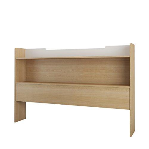 Nexera 346939 Queen Size Bookcase Headboard, Natural Maple/White