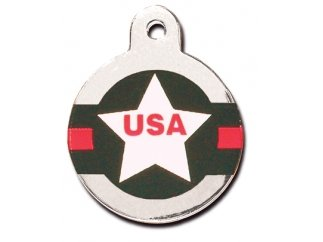 Tag Dog Shield - National Flags Collection Personalized Custom Engraved Pet ID Tags! (USA Aviator Shield)