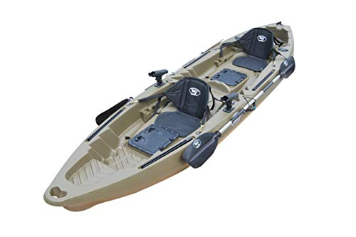 BKC UH-TK122-KS222 Coastal Cruiser 12.9-Foot Tandem 2-3 Person Fishing Kayak -with 2 Universal Kayak Sit in Padded Seat and Backrest and Paddles Included